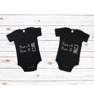 two black onesies with twin checkbox design