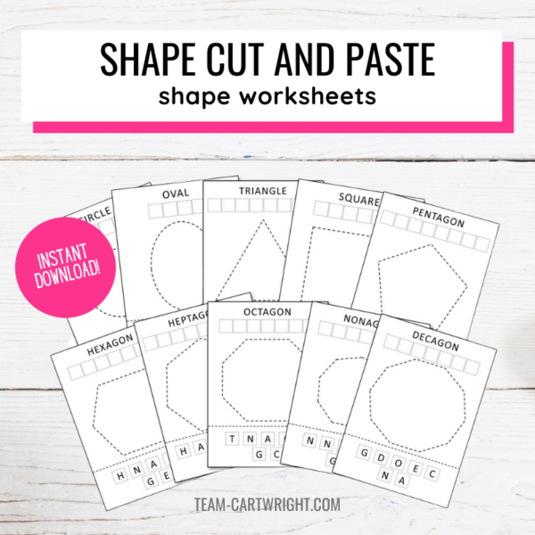 Shape cut and paste worksheets for kids
