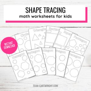 shape tracing worksheets for kids
