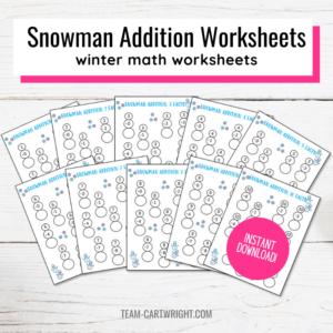 snow addition worksheets for kids