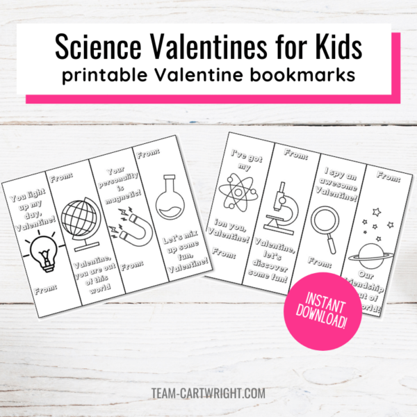 Text: Science Valentines for Kids printable Valentine bookmarks