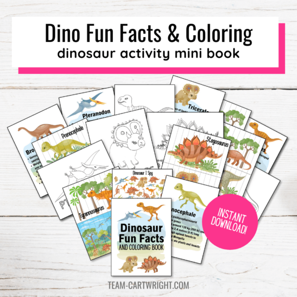 Text: Dino Fun Facts & Coloring dinosaur activity mini book. Picture: collection of printables in dinosaur activity book including dino facts, coloring pages, DIY puzzles, and I Spy