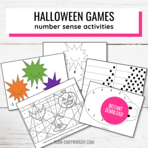 Text: Halloween Games number sense activities; Picture: 5 printables including monster math, color by number, and spider number matching games; Badge: Instant Download