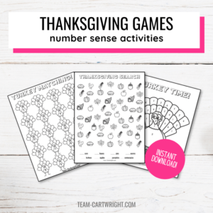 Text: Thanksgiving Games number sense activities; Picture: 3 free printable thanksgiving activities for preschool and preK